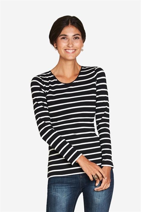 Sort/hvid Stribet ammebluse - klassisk T-shirt model