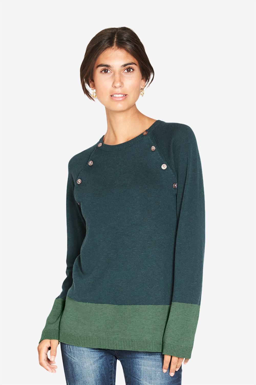 2 farvet ammebluse med knapåbning i grønne farver
