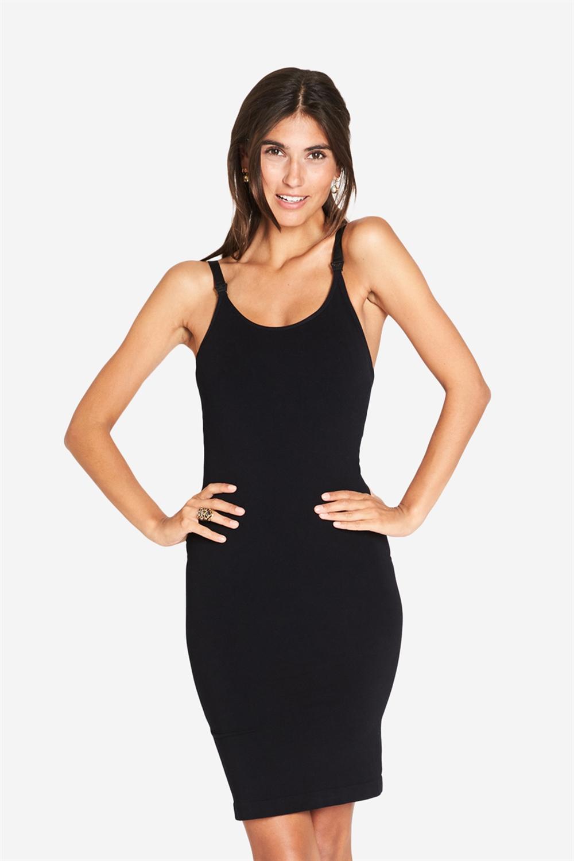 Long strap nursing dress in black