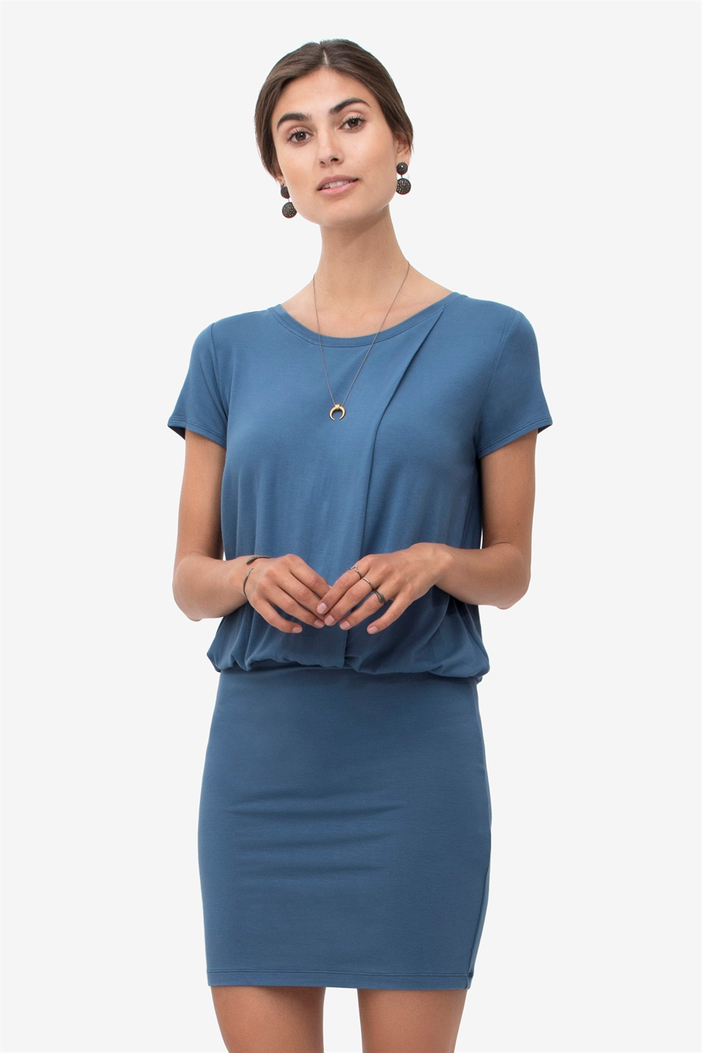Blue nursing dress with loose top and tight skirt