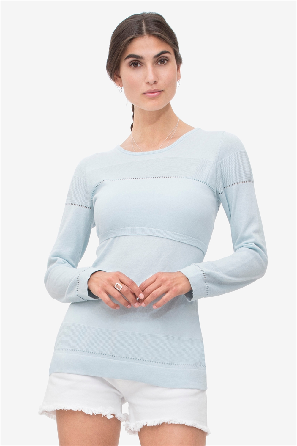 Aqua nursing shirt with fine knit pattern - 100% organic cotton