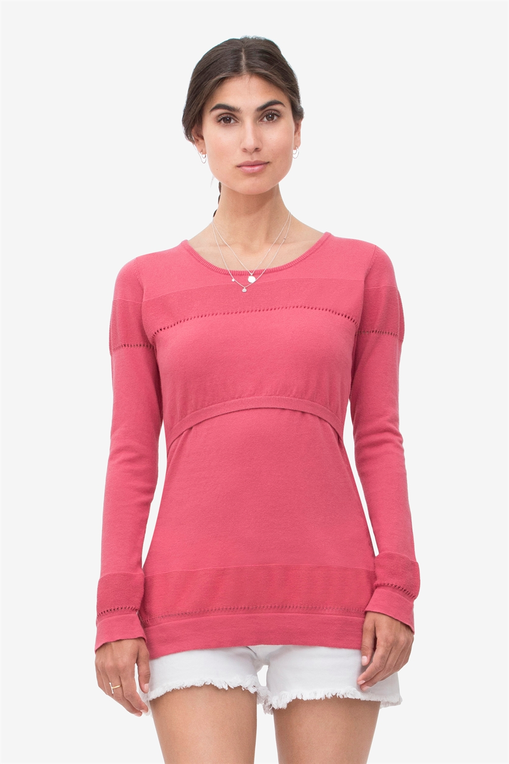 Coral nursing shirt with knit knit pattern- 100% organic cotton knit