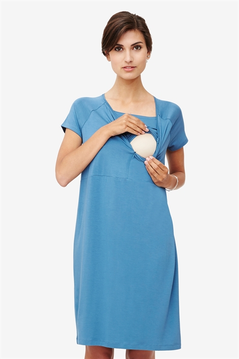 Blue nursing dress in bamboo jersey with zipper opening