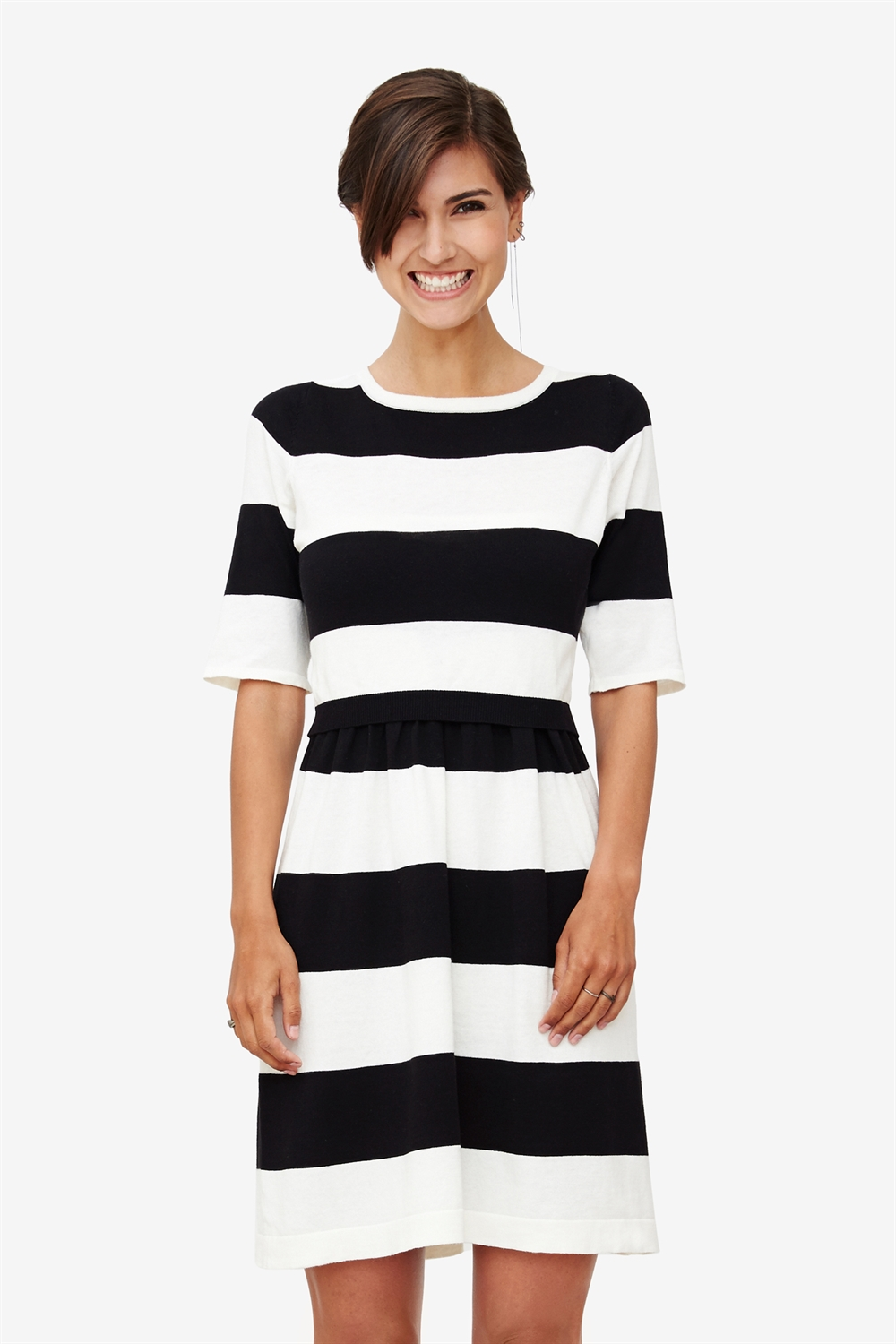 Cream/black striped nursing dress in 100% organic cotton