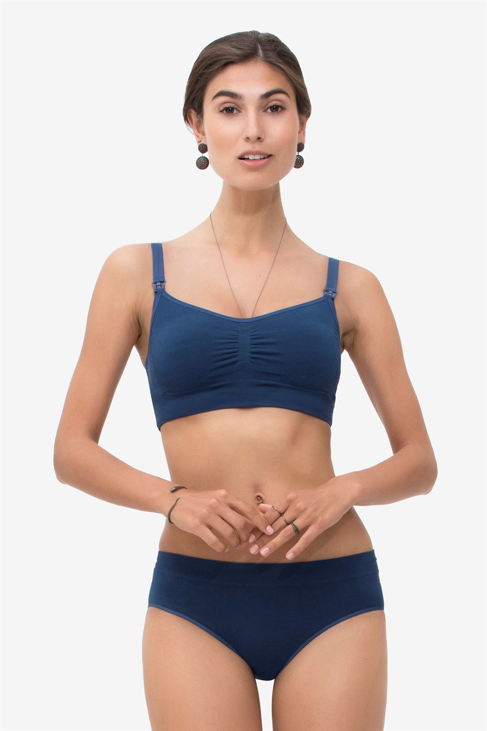 Blue breastfeeding bra in bamboo with snap closing
