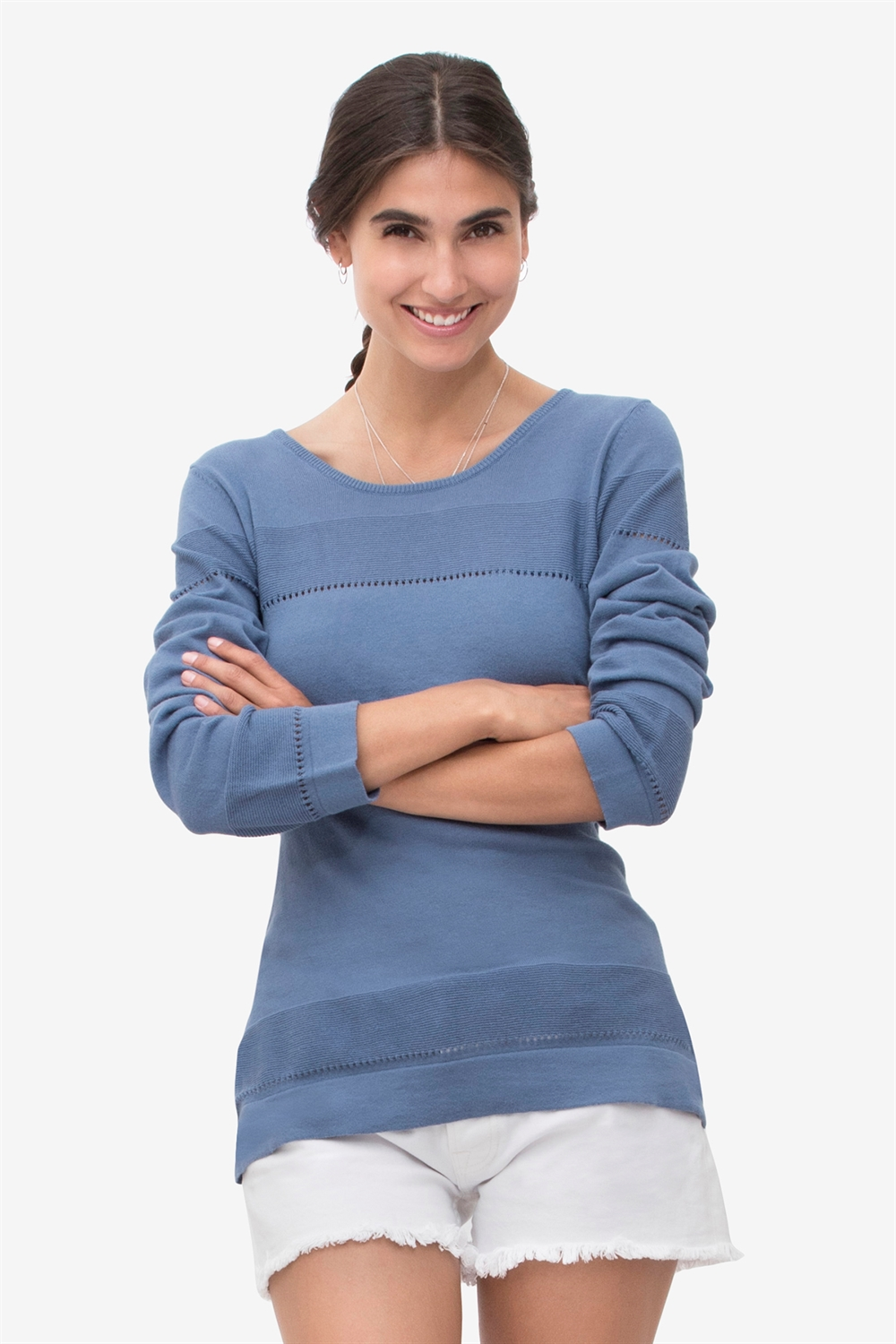 Blue nursing tee with fine knit pattern- 100% organic cotton