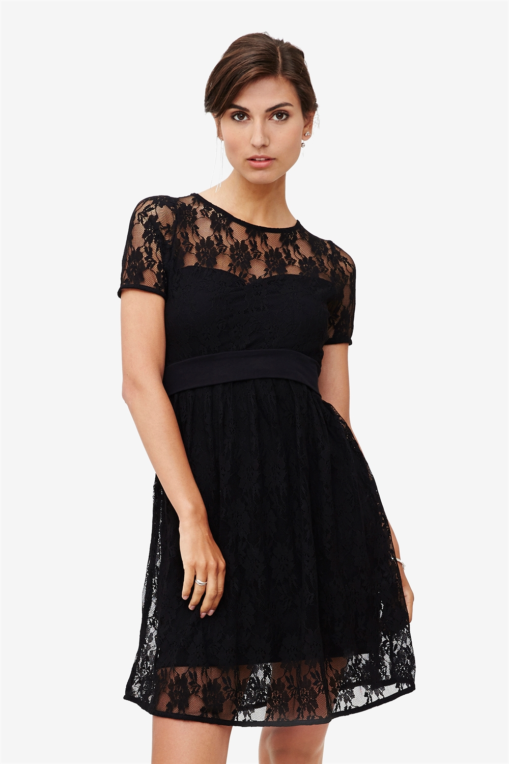 Black lace dress with underdress