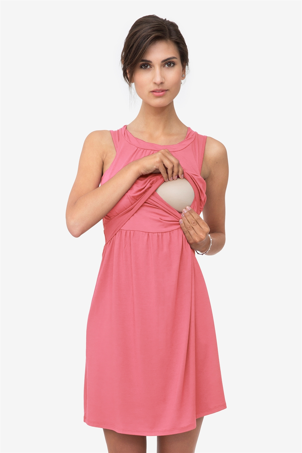 Sleeveless coral nursing dress in bamboo fibres