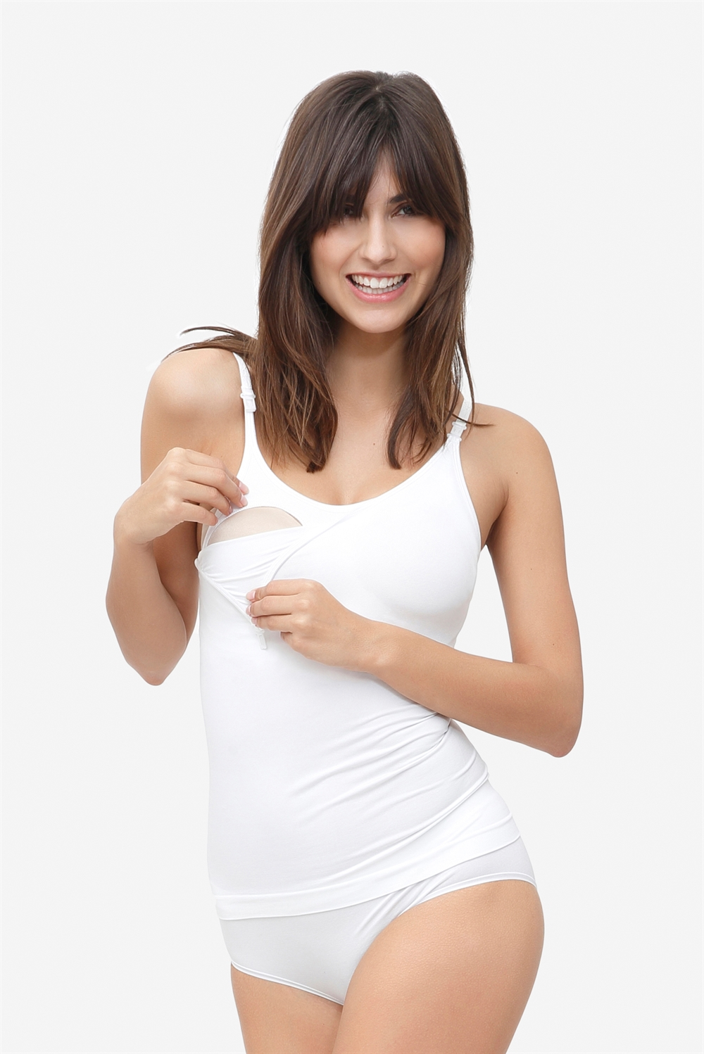 White nursing shirt with built-in bra in bamboo fibers