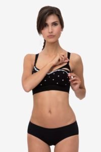 Sporty black nursing bra with white dots