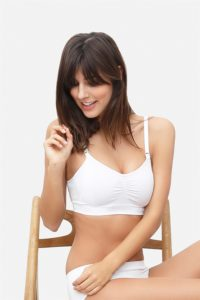 White nursing bra with click opening in bamboo fibers