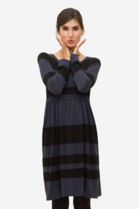 Blue striped Nursing Dress in 100% Organic Cotton Knit