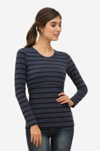 Blue nursing blouse with stripes in organic cotton