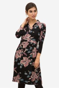 Flower print nursing dress with shirtcollar