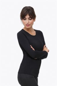 Black classic nursing shirt made of organic cotton