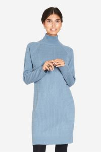 Light blue nursing dress – with high neck collar and long sleeves