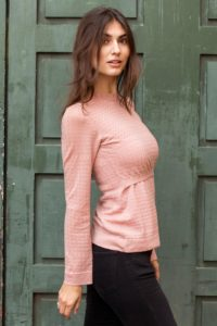 Rose nursing pullover with frill neck