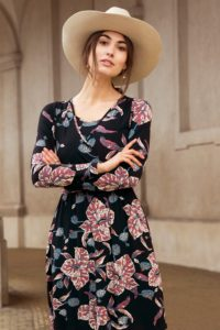 Nursing dress with flower pattern and wrap look